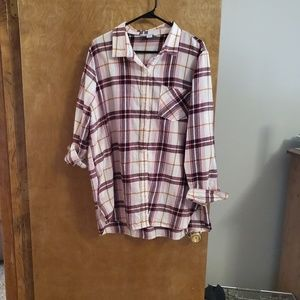 Tunic length button up flannel